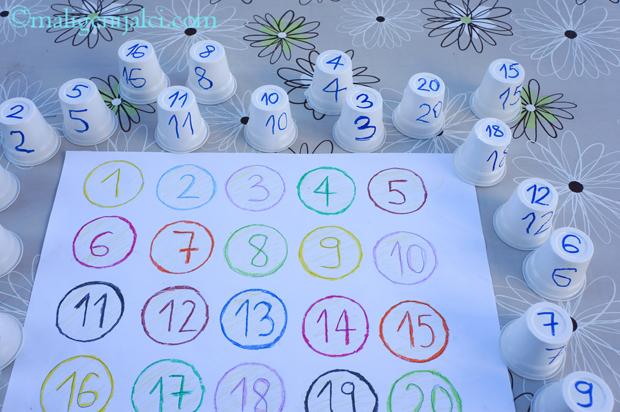 Učim brojeve i vježbam zapažanje uz čašice