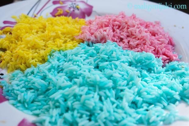 Kako napraviti šarenu rižu za igru