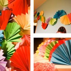 Lepezama od papira do šarenih dekoracija